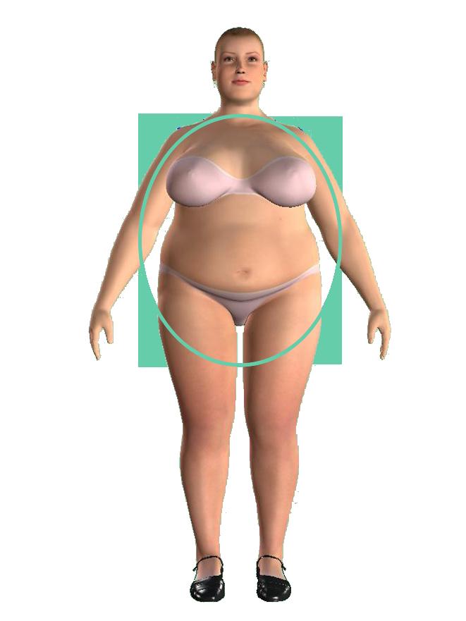 woman apple round shape