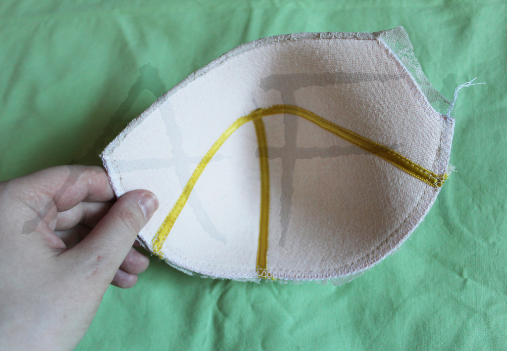 sewing foam and lace bra cup