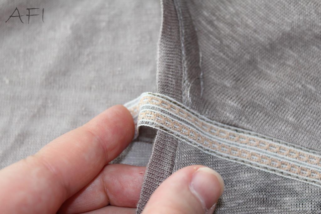 ribbon into the shoulder seams