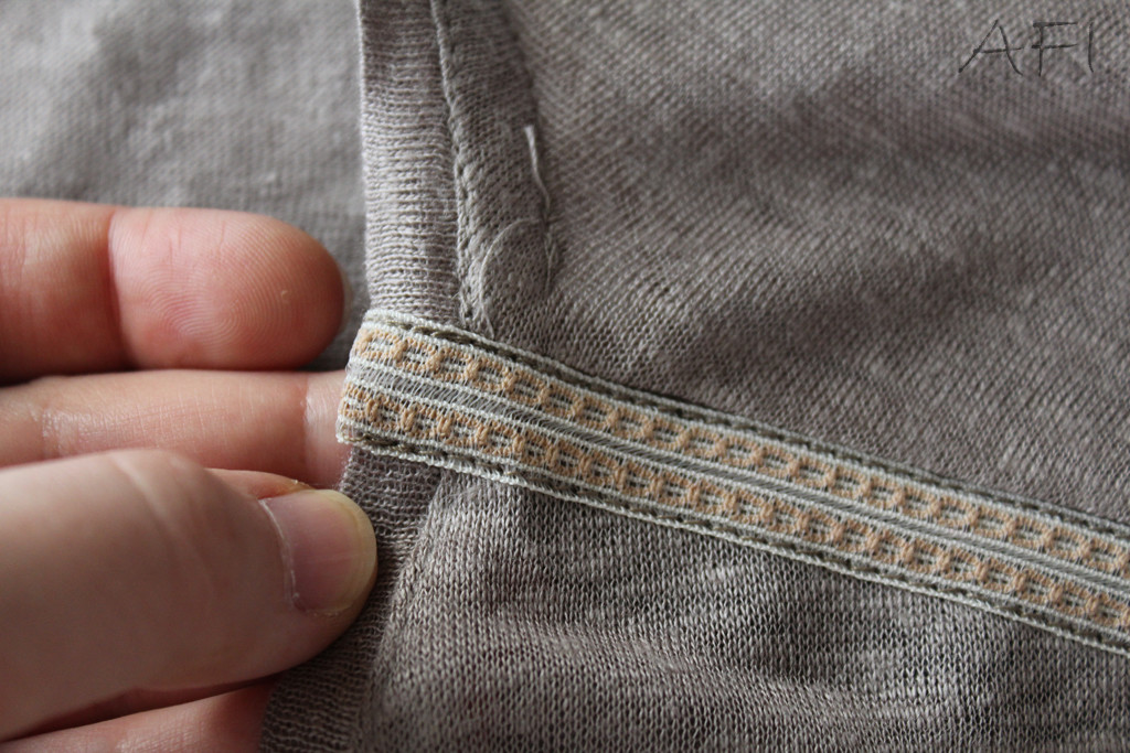 sewing ribbons to shoulder seam