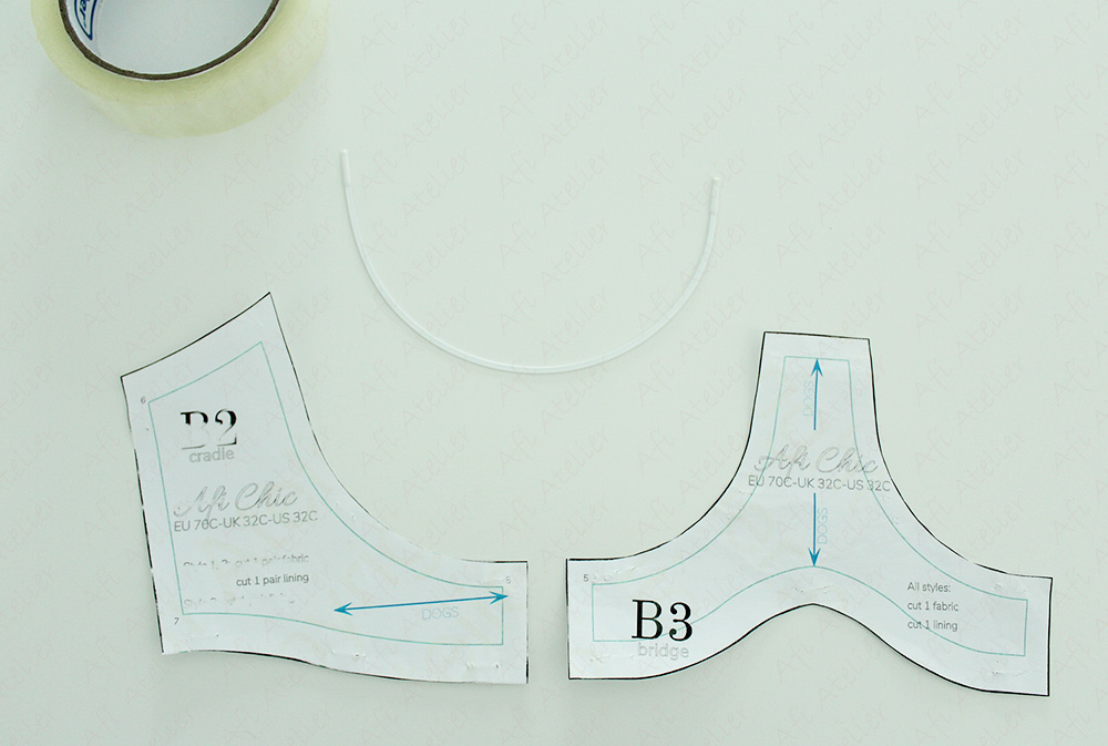 Bra pattern pieces and underwire