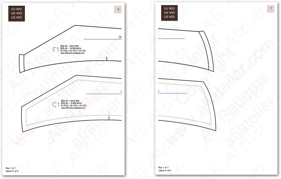 Maya bra pattern how to tape pattern pieces